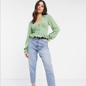 ASOS DESIGN long sleeve v neck tea blouse
